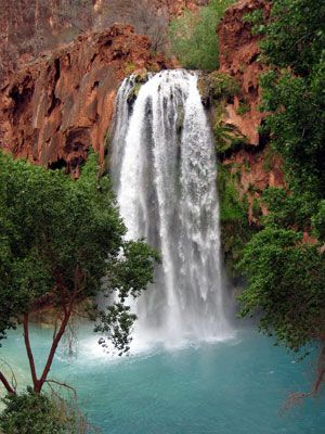 Havasu Falls, Arizona.   One of the places I never went while living there, I'd like to go back & go... Bottom of grand canyon.