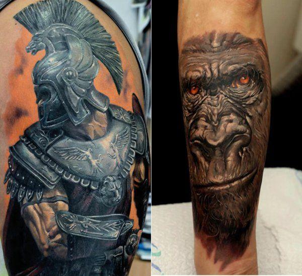 tattoo motive oberarm gorilla krieger