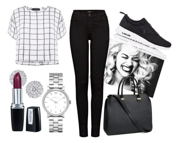 """black and white"" by chaoticandglamour on Polyvore featuring Myne, H&M, J Brand, Marc by Marc Jacobs, Isadora and NIKE:"