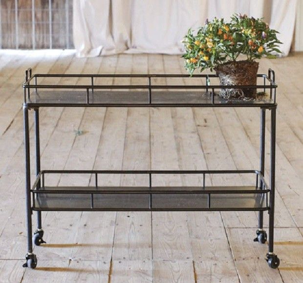 $182 @ Antique Farmhouse. Metal Kitchen Cart on Wheels