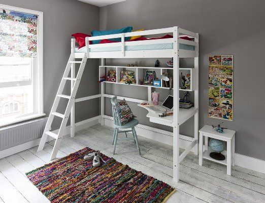 cabin bed high sleeeper with desk in white new york 26 loft bed - Coole Mdchen Schlafzimmer Mit Lofts