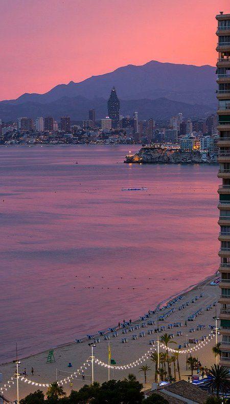 Spain, Comunidad Valenciana, Alicante, Benidorm..sunset.