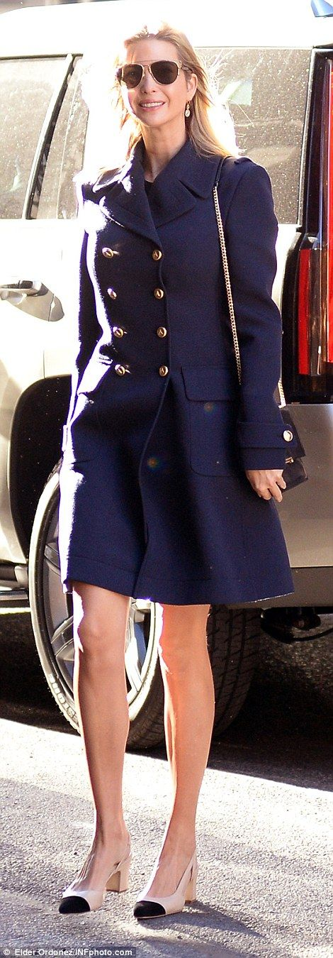 Ivanka Drumpf bundles up against the New York chill in a chic blue coat | Daily Mail Online