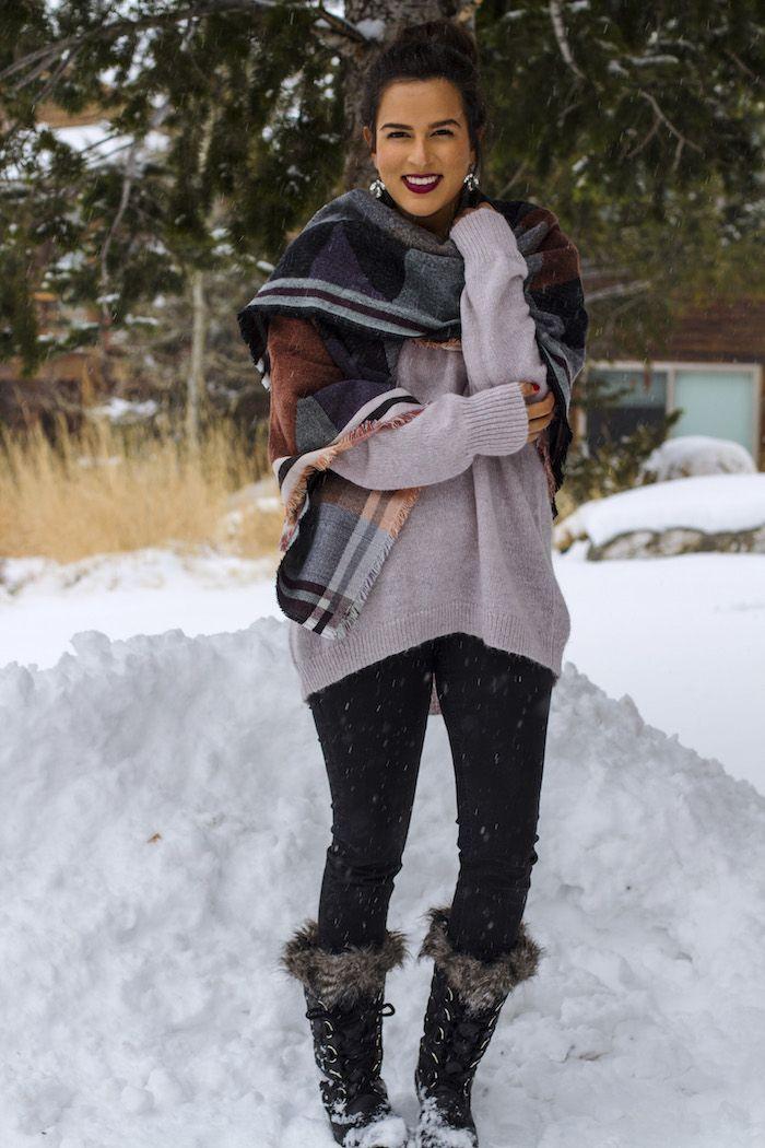 Winter wear :) Snow boots & blanket scarfs