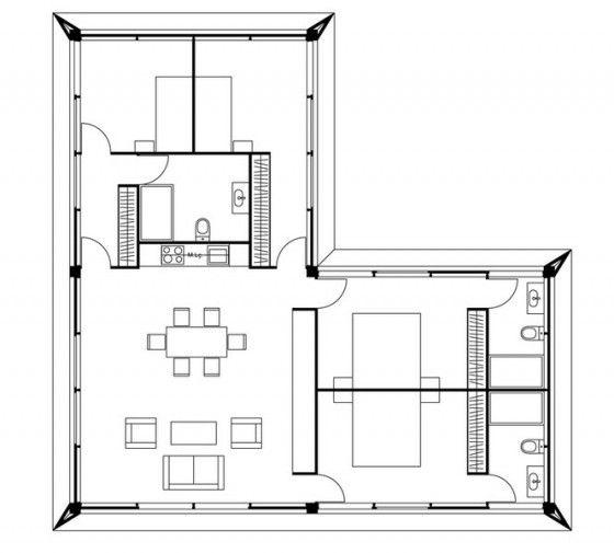 Plano de casa un piso 151 metros cuadrados