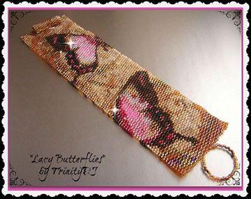 Lacy Butterflies Peyote Bracelet Beading Pattern by Lorraine Hickton (Coetzee) aka TrinityDJ at Bead-Patterns.com