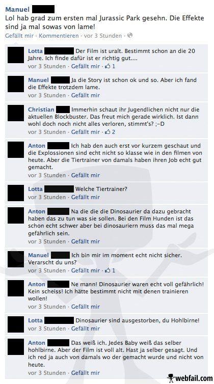Jurassic Park - Facebook Fail des Tages 03.11.2013 | Webfail - Fail Bilder und Fail Videos
