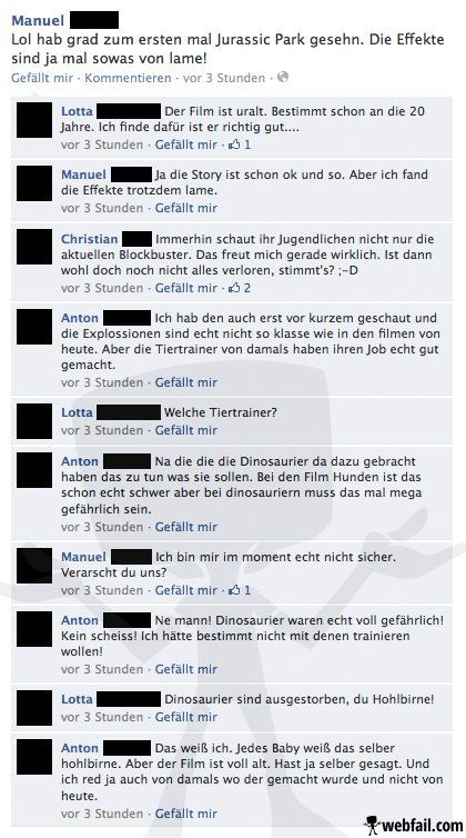 Jurassic Park - Facebook Fail des Tages 03.11.2013 | Webfail - Fail Bilder und Fail Videos