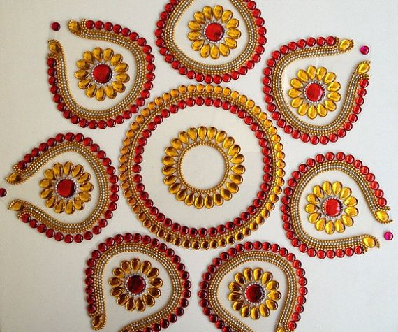 8 Pieces Beautiful Red and Golden Yellow Rangoli