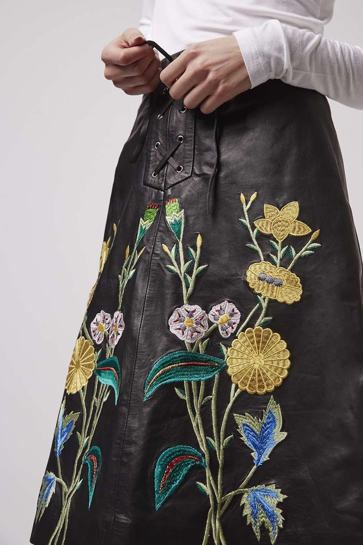 Photo 2 of Embroidered Leather Midi Skirt