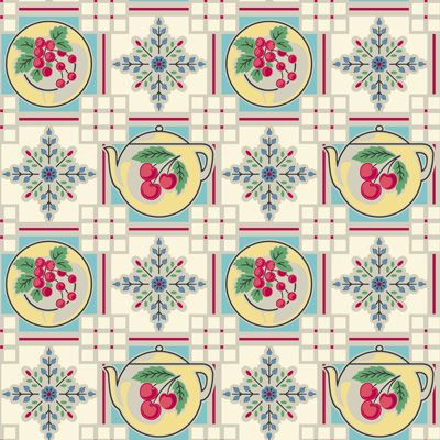 1940s Retro Kitchen Wallpaper | Teapot Wallpaper | Bradbury & Bradbury
