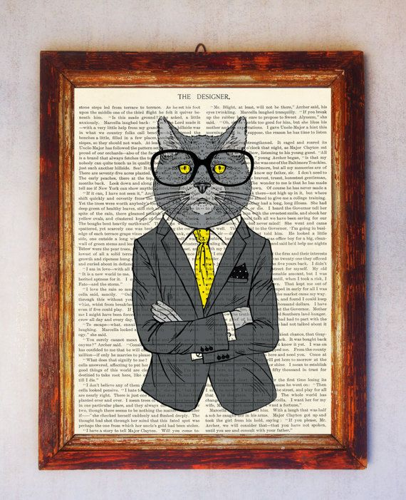 Male Cat Art Print Cat with Glasses Print Cat Wall Art Book