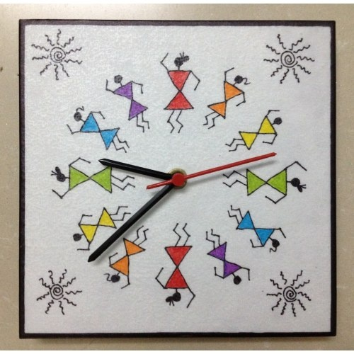 """This beautiful colourful warli wall clock (7"""" x 7"""") will change the look of your home / office décor. Ideal for gifting it to your family / friends. $14"""