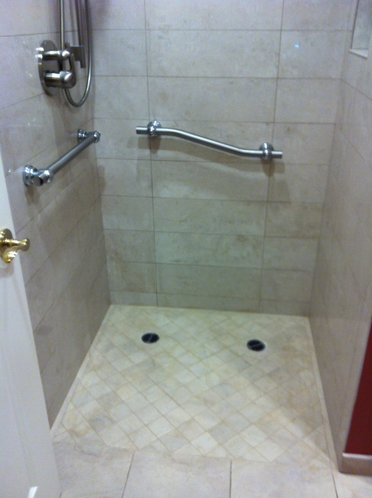 Curbless Shower With Grab Bars Bathroom Ideas Pinterest Showers Bar And Grab Bars