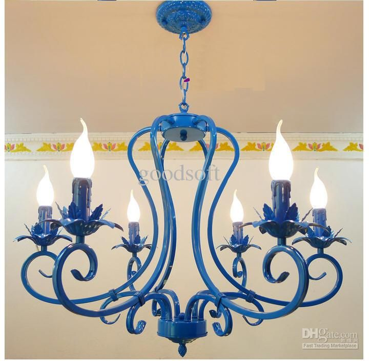 Wholesale Ceiling Lights - Buy European Wrought Iron Light ,6/8 Candle Lights,blue Mediterranean Lamp,pendant Lamp,ceiling Lamp, $317.93 | D...