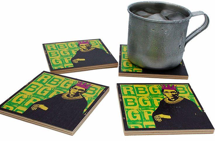 Flox 'Notorious RBG' Wooden Coasters