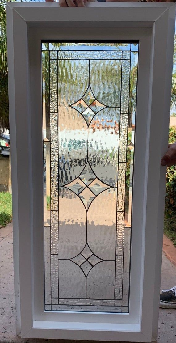 Stained Beveled Glass Window Vinyl Framed Insulated Etsy In 2020 Window Glass Design Door Glass Design Stained Glass Door