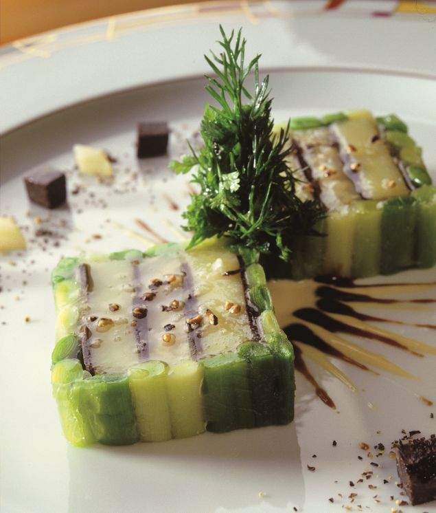 Galantine de pommes de terre et poireaux aux truffes noires