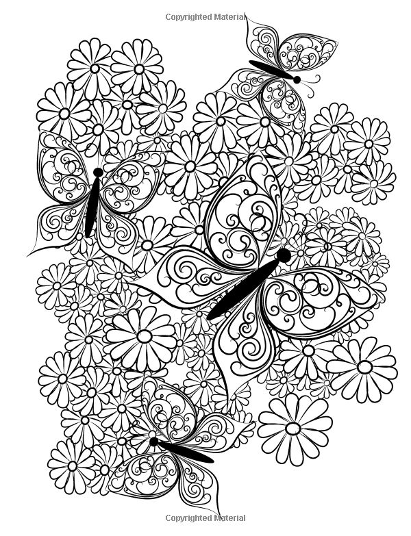 Adult Coloring Book Butterflies And Flowers Stress
