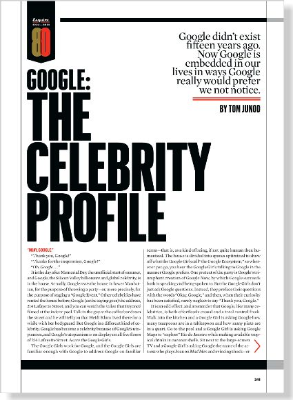 Google: The Celebrity Profile. Clipped from Esquire using Netpage.