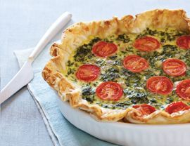 Spinach, Feta, and Tomato Quiche | Cooking Recipe Central  I should put this on my learn-to-do list for Melissa, but hell, she probably already fund on Tumbler & made it....