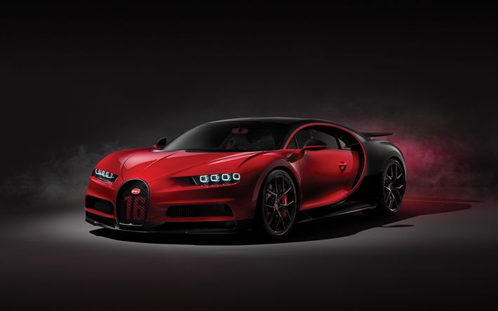Download wallpapers Bugatti Chiron Sport, 2019, hypercar, tuning, red black Chiron, supercar, exterior, front view, Bugatti
