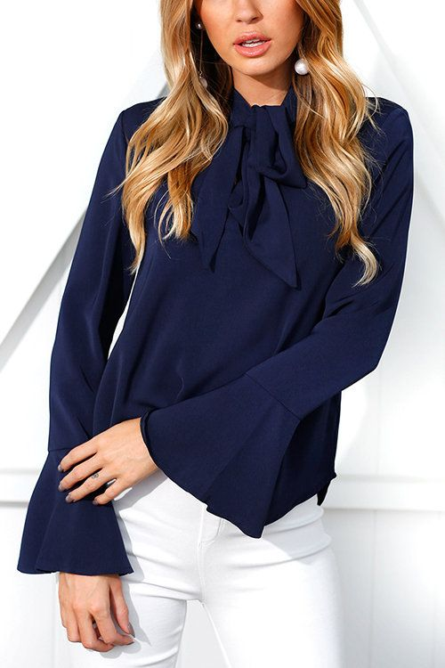 523f40f858 Navy Self-tie Design Bell Sleeves Chiffon Blouse - US 19.95 -YOINS ...