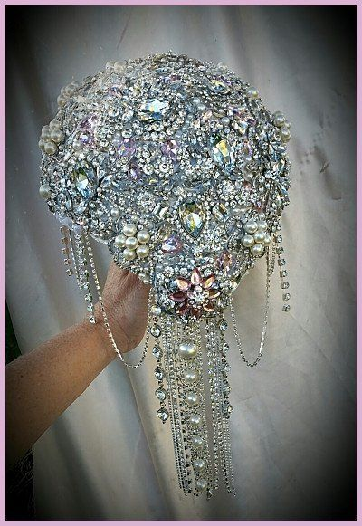 "Custom made Full brooch Bouquet This bouquet is a larger sized wedding bouquet at 9"", which is approx 28"" in circumference. All made and fully covered with all quality stunning brooches and gems. Cust"