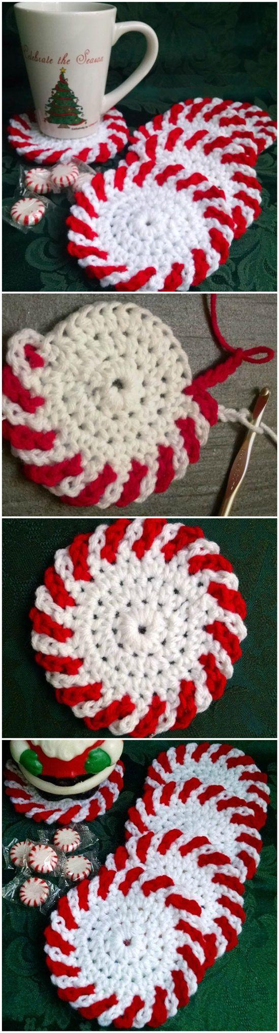 Peppermint Coasters – Free Crochet Pattern