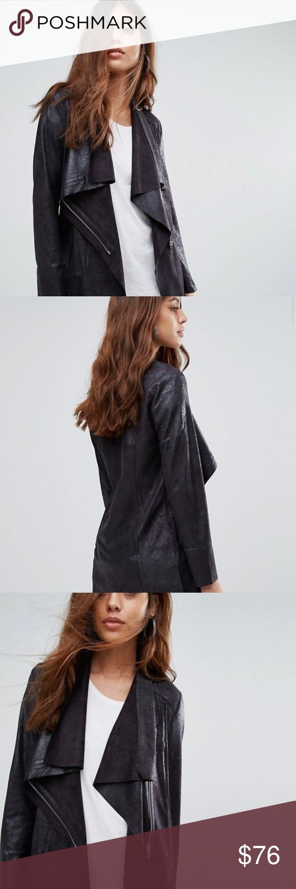 ASOS Mango Waterfall Faux Suede Jacket Jacket by Mango Faux suede Added stretch for comfort Waterfall lapels Asymmetric zip fastening Regular fit - true to size Dry clean 90% Polyester, 10% Elastane Mango Jackets & Coats