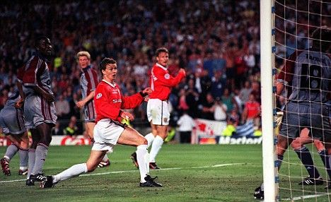 Magical moment: Ole Gunnar Solskjaer prods home the winning goal for Manchester United in the 1999 Champions League final Read more: http://www.dailymail.co.uk/sport/football/article-1188656/Solskjaer-urges-United-draw-inspiration-Sir-Matt--just-heroes-1999-did.html#ixzz1Zwi03g3w