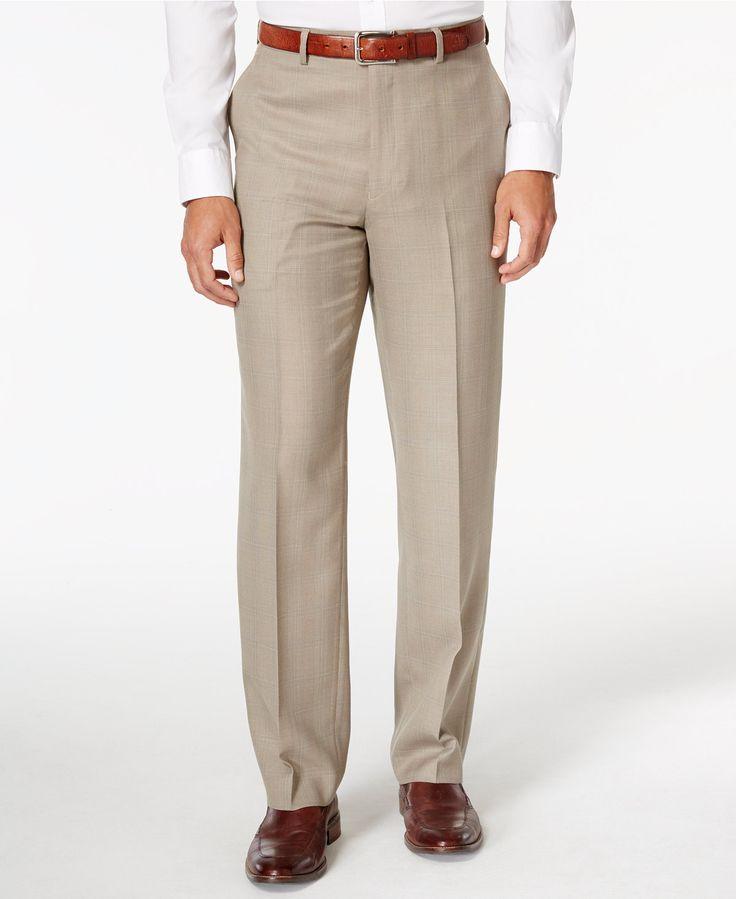 Sean John Men's Tan Plaid Classic-Fit Pants - Suits & Suit Separates - Men - Macy's