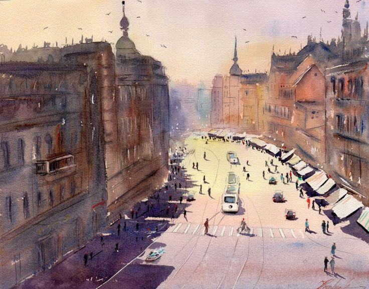 Śląsk w obrazach Jacka Prandziocha: Zabrze, ul. Wolności
