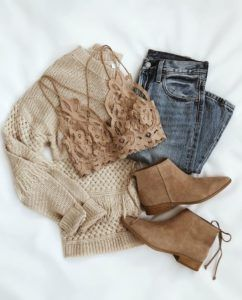 Brown sweater with bralette jeans and boots