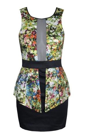 """""""Quinn"""" Digital Floral Peplum Dress $64.95"""