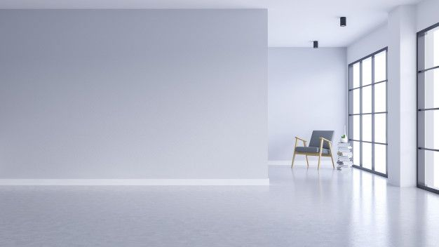 Modern Empty Living Room Interior White Wall And Concrete Floor With Black Frame Window White Walls Living Room Interior Empty Room