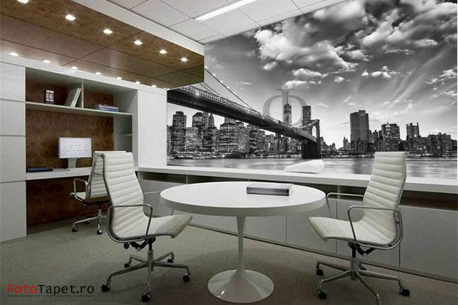 Brooklyn Bridge your office Wall, floor, ceiling- anything can be personalized with a special, latex alike, material that can help you personalize your home and make it memorable! Contact us: www.fototapet.ro