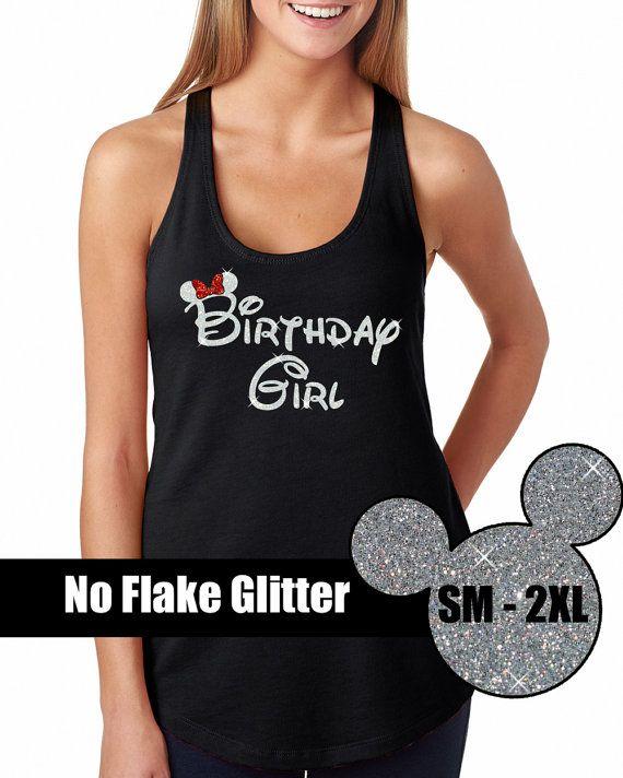 GLITTER Disney Birthday Girl Tank  // Disneyland Shirt // Disney Cinderella Castle // Adult Disney Clothing (69-NL-33) Black Tank