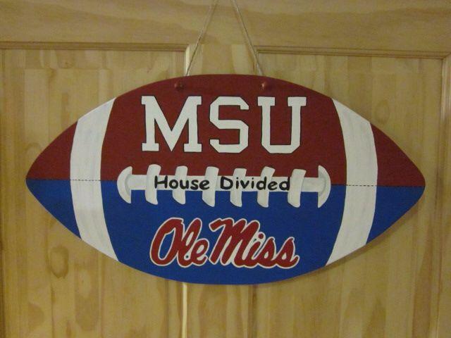 MSU / Ole Miss house divided door hanger