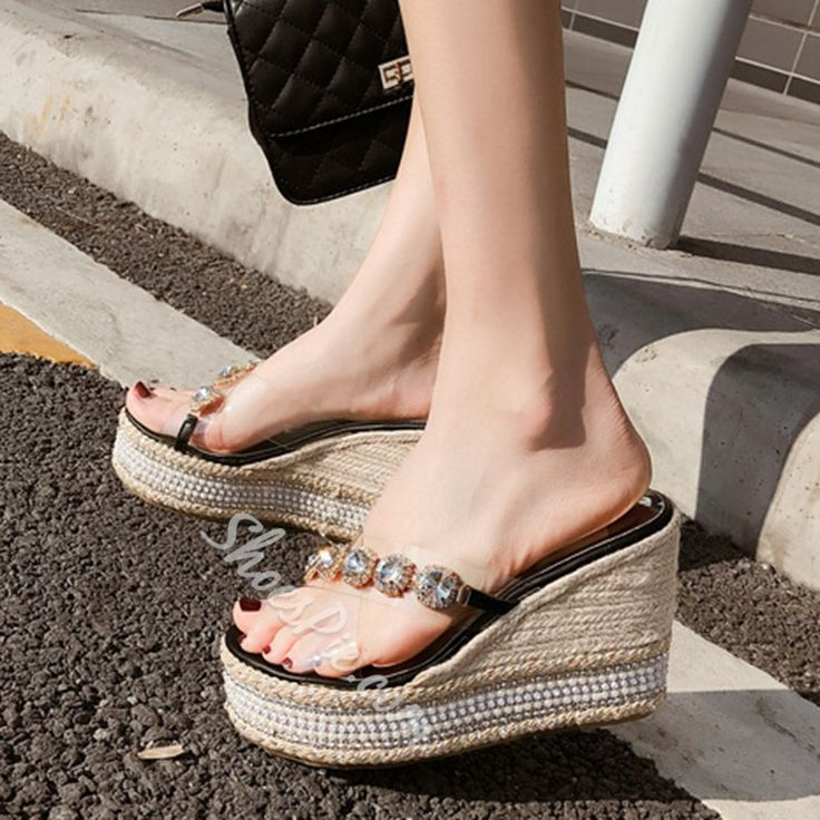 Clear Rhinestone Wedge Heel Summer Slippers