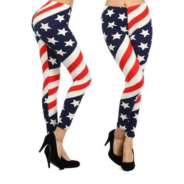 American Flag Spandex Leggings ($6) ❤ liked on Polyvore featuring pants, leggings, american flag pants, white pants, american flag spandex pants, usa flag pants and lycra leggings