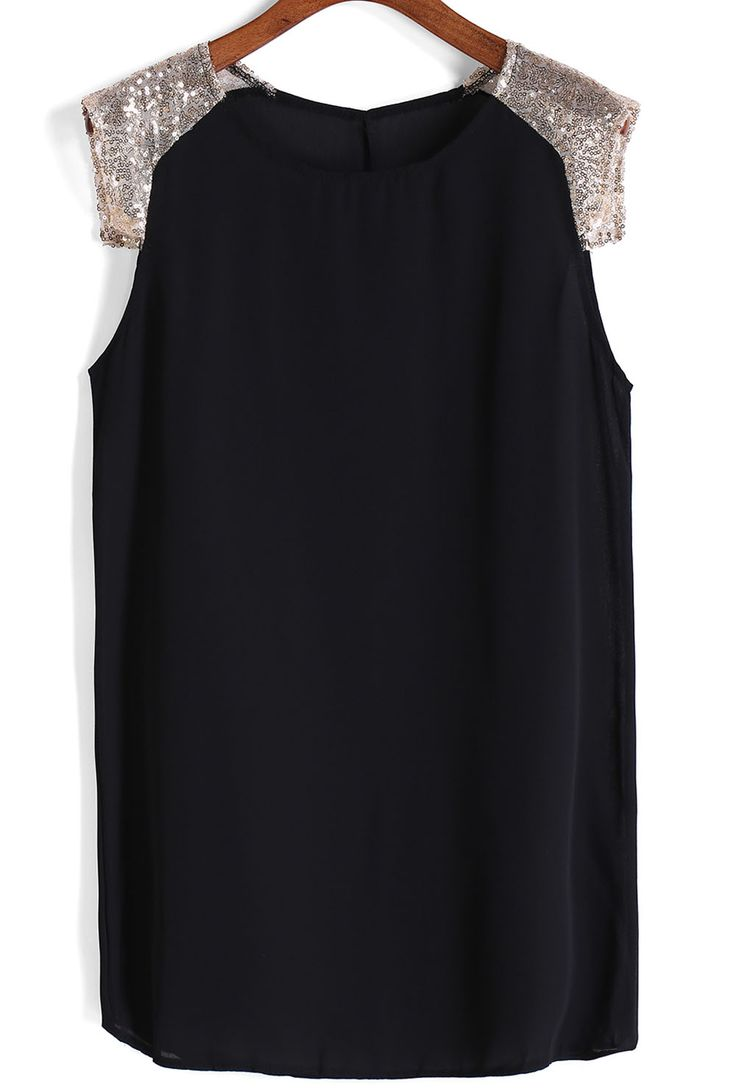 With Sequined Shift Chiffon Black Dress 8.99