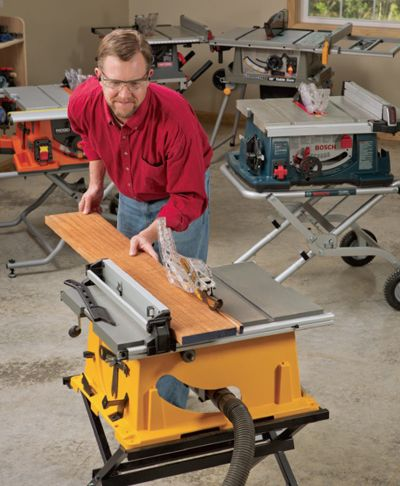 "Portable 10-inch Table Saw Reviews. These 10-in. portable table saws, often referred to as jobsite table saws or benchtop table saws, don't hog floor space, go practically anywhere and can cut everything from sheetstock to dadoes. One of these portable table saw models may be for you. But only one of them is our ""Best Bet"" winner."