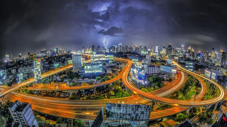 Небоскребы Дороги Таиланд Бангкок Мегаполис Ночь Города