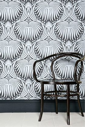 lotus wallpaper drawn from 19th century french archives and influenced by the arts & crafts movement.