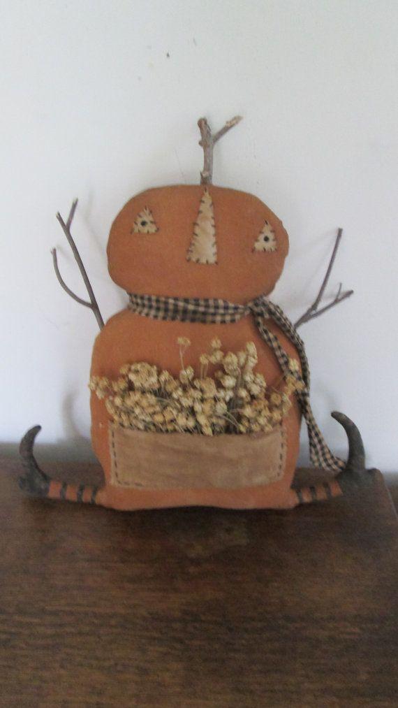 Primitive Pumpkin Doll by Bettesbabies on Etsy, $38.00