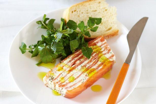 Smoked salmon terrine with dill and lemon cream.