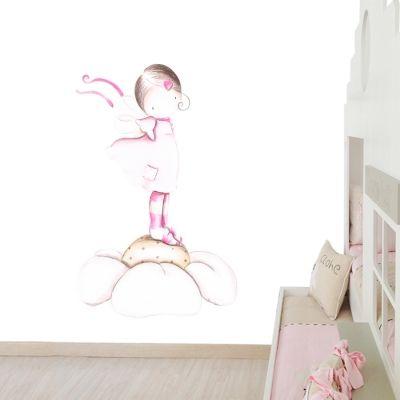 Decoración infantil Il Mondo di Alex, Papel mural efecto pintado a mano, HADA SOBRE MARGARITA ... personalizado con nombre o frase y a medida.