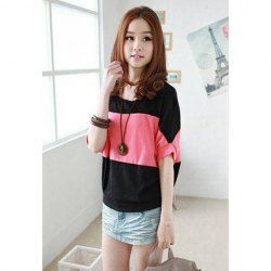 $5.21 Casual Splicing Blocking Color Broad Stripe Batwing T-Shirt For Women