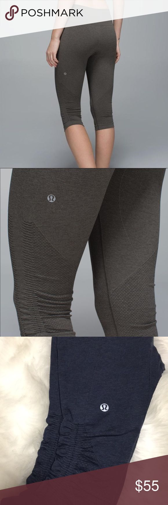 Lululemon in the flow crop pants In great condition! Does not have tags, fit a small, the color is a dark navy blue. Stock photo is to show how they look when you wear them. lululemon athletica Pants Capris